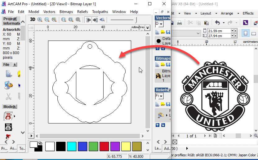 คัดลอกเส้นโครงร่างจาก CorelDraw ไปยัง ArtCAM