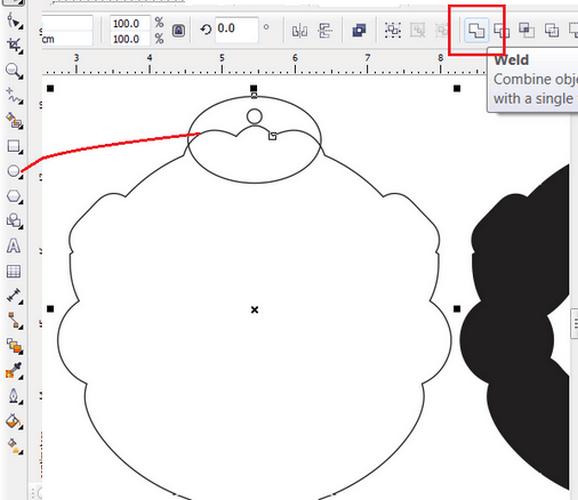 ออกแบบรูใส่พวงกุญแจบน CorelDraw