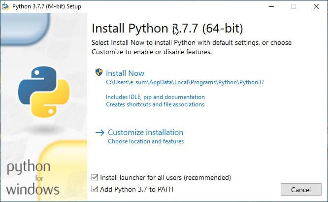 เลือก add to python to path